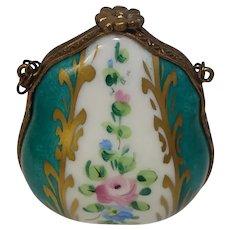 Limoges Floral Hand Painted Porcelain Purse Pill Box