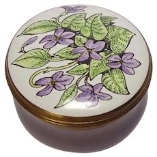Vintage Crummles Floral and Leaf Enameled Pill Box