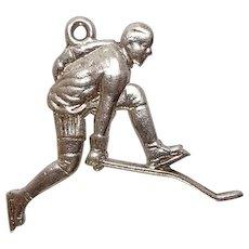 Sterling Hockey Player Charm