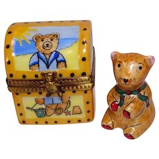 Limoges Teddy Bear Hand Painted Porcelain Pill Box