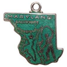 Vintage Sterling Maryland State Enameled Charm