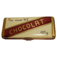 Rochard Limoges Chocolat (Chocolate) Bar Porcelain Pill Box