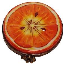 Rochard Limoges Small Half Orange Porcelain Pill Box