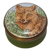 Crummles England Fox Enameled Small  Pill Box