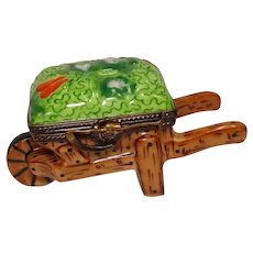 Limoges Hand Painted Wheelbarrow with Vegetables Porcelain Pill Box