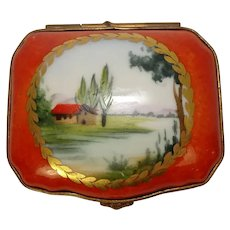Limoges Chamart Hand Painted River Scene Porcelain Pill Box