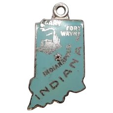 Indiana State Sterling and Enameled Charm