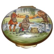 Crummles England Fishing Themed Enameled Pill Box