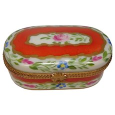Limoges Rose and Floral Pill Trinket Box