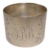 Antique Floral and Leaf Sterling Napkin Ring 1912