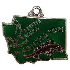 Washington State Sterling and Enameled Charm