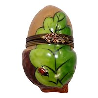 Limoges Rochard Acorn with Ladybug Hand Painted Porcelain Pill Box