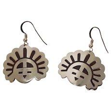 Signed Sterling Sun God Native American Earrings