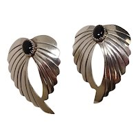 Signed Feather Onyx Sterling Earrings