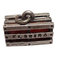 Signed Beau Florida Crate of Oranges Sterling Charm