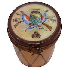 Limoges Hand Painted French Revolution 1789 Porcelain Drum Pill Box