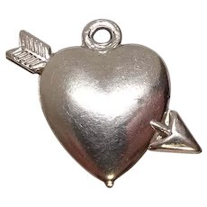 Heart with Arrow Sterling Charm FREE SHIPPING
