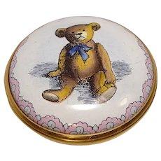 Halcyon Days Bilston & 'Battersea The Original Teddy Bear Smithsonian Institute Collection Pill Box