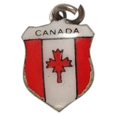 Canada Travel Shield Enameled Charm