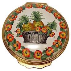 Halcyon Days Pineapple Floral Basket Pill Box