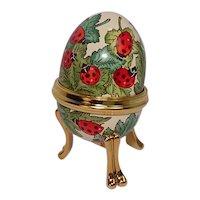 Bilston & Battersea Halcyon Days Enameled Lady Bug Egg Shaped Pill Box