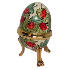 Bilston & Battersea Halcyon Days Enameled Lady Bug Egg Shaped Pill Box