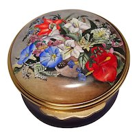 Bilston & Battersea Halcyon Days Enameled Jamaican Flowers Pill Box