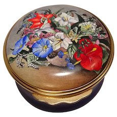 Bilston & Battersea Halcyon Days Enameled Jamaican Flowers Pill Box