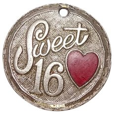 Sweet 16 Love Mom and Dad Sterling Heart Charm
