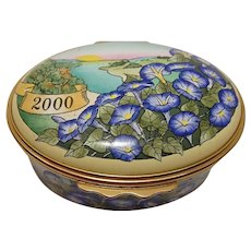 Bilston & Battersea Halcyon Days Enameled The Year to Remember 2000 Floral Pill Box