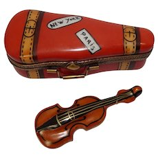 Chanille Limoges France Violin and Case Porcelain Pill Box