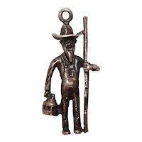 Vintage Farmer with Rifle and Whiskey Sterling Charm
