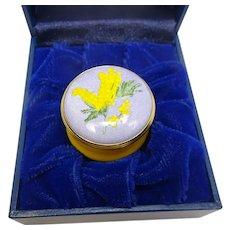 Halcyon Days Enamels Yellow Mimosa Enameled Pill Box
