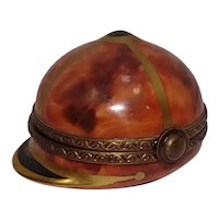 Limoges Hand Painted Jockey Cap Porcelain Pill Box by Rochard