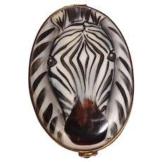 Chamart Limoges Zebra Porcelain Pill Box