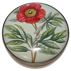 Halcyon Days Bilston & Battersea Peony  Enameled Pill Box