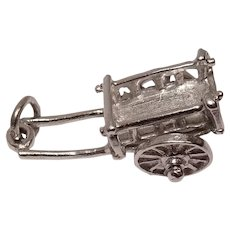 Sterling Mechanical Pull Cart Charm