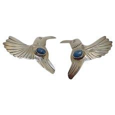 Signed Sterling Lapis Hummingbird Earrings