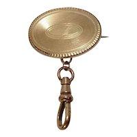 Vintage Brass Watch Brass Lapel Pin or Brooch