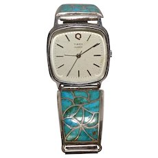 Turquoise Inlaid Sterling Watch Bracelet Native American