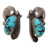 Gorgeous Turquoise Sterling Feather Bead and Scroll Earrings