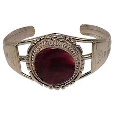 Signed Purple Spiny Oyster Sterling Cuff Bracelet Native American