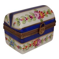 Limoges Hand Painted Floral Trunk Porcelain Pill Box