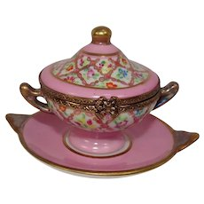 Limoges Rochard Hand Painted Soup Tureen Porcelain Pill Box