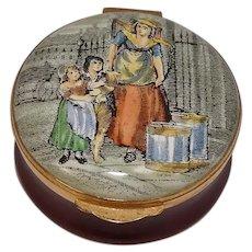 Vintage Crummles England Milk Maiden Enameled Pill Box