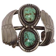 Signed Gilo/Grace Nakai Navajo Turquoise Cuff Bracelet