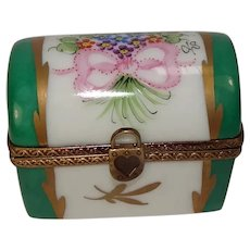Numbered Limoges Floral and Bow Trunk Porcelain Pill Box