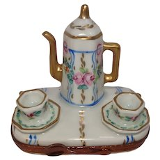 Gorgeous Limoges Coffee and Cup Set Porcelain Pill Box