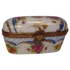 Limoges Floral and Leaf Porcelain Pill Box