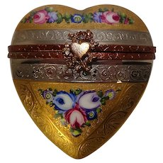 Numbered Limoges France Hand Painted Heart and Floral Porcelain Pill Box